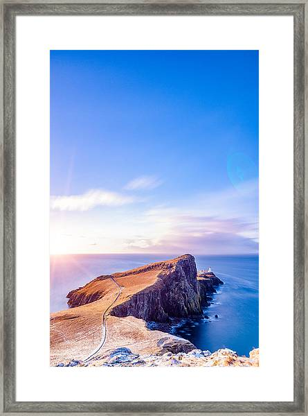 Neist Point Lighthouse At Dawn Framed Print