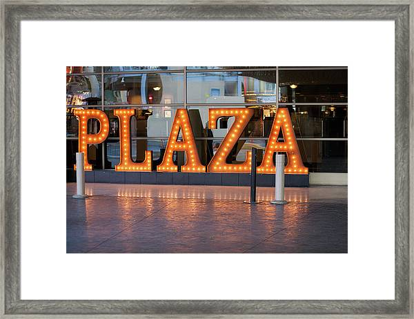 Neon Plaza Framed Print