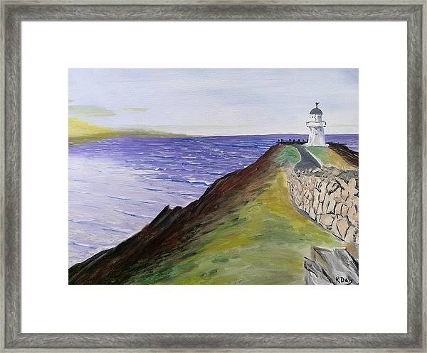 Framed Print featuring the painting New Zealand Lighthouse by Kevin Daly
