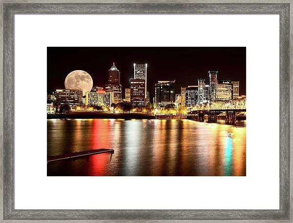 Night Shot Portland Oregon Framed Print