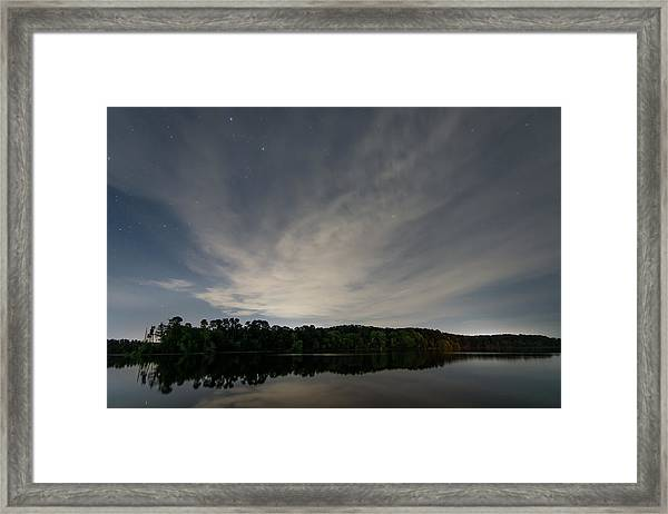 Night Sky Over The Lake Framed Print