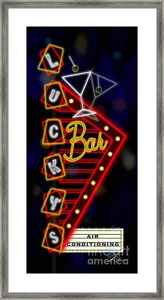 Nightclub Sign Luckys Bar Framed Print
