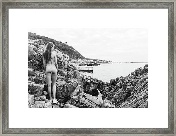 Nude Girl On Rocks Framed Print