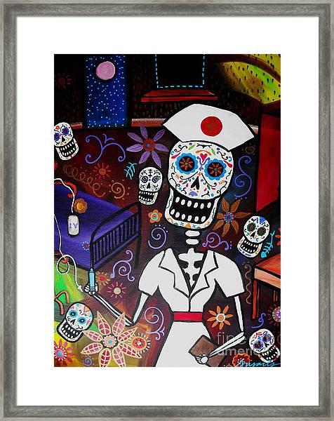 Nurse Dia De Los Muertos  Framed Print