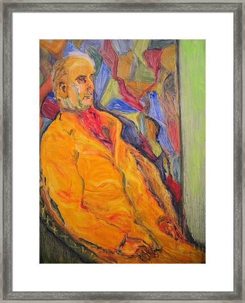 Oil Study - Man Sitting Framed Print by Lessandra Grimley