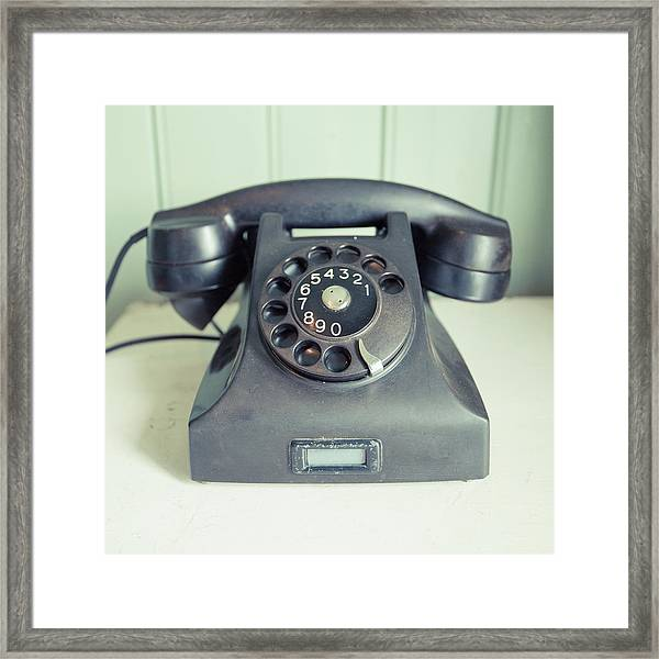 Old Telephone Square Framed Print
