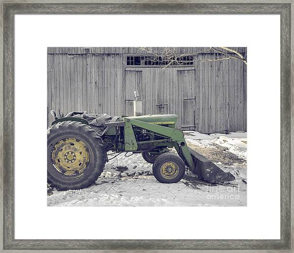 Old Tractor By The Grey Barn Framed Print