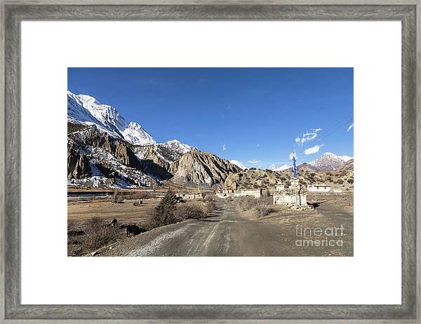 On The Annapurna Circuit Trekking Near Manang In Nepal Framed Print