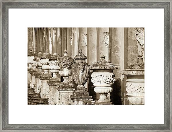 Ornate Garden Urns. Framed Print