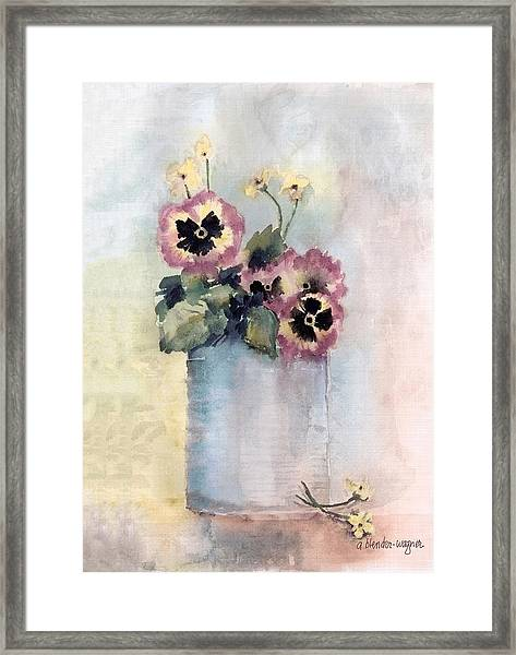 Pansies In A Can Framed Print