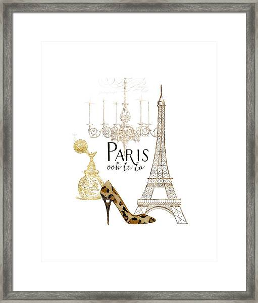 Paris - Ooh La La Fashion Eiffel Tower Chandelier Perfume Bottle Framed Print