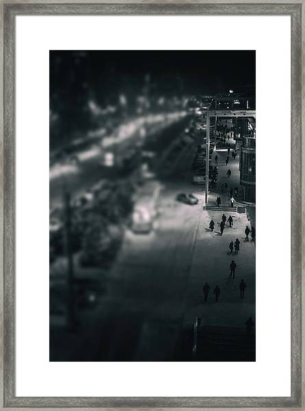 People At Night From Arerial View Framed Print