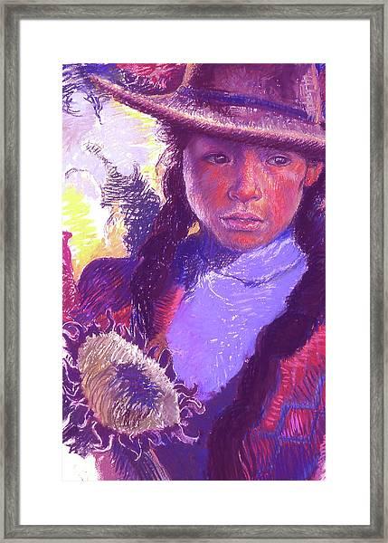 Peruvian Girl With Sunflower Framed Print