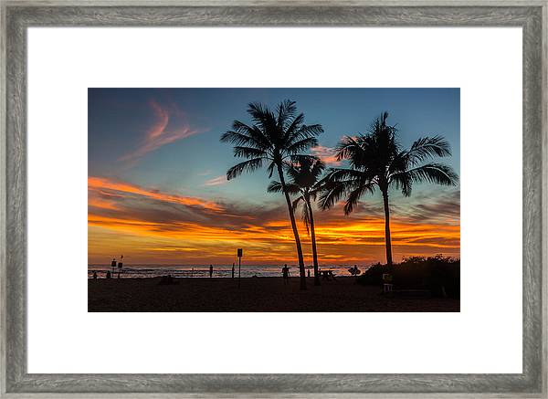 Poipu Beach Sunset - Kauai Hi Framed Print
