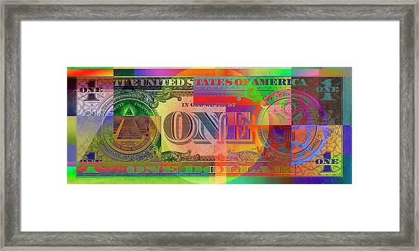 Pop-art Colorized One U. S. Dollar Bill Reverse Framed Print