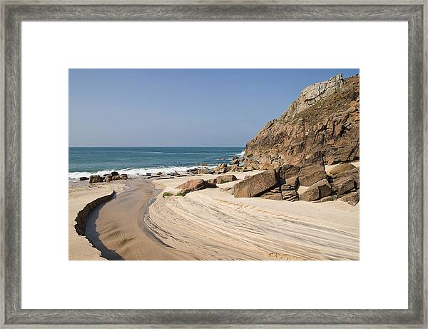 Portheras Beach In Nw Cornwall Framed Print