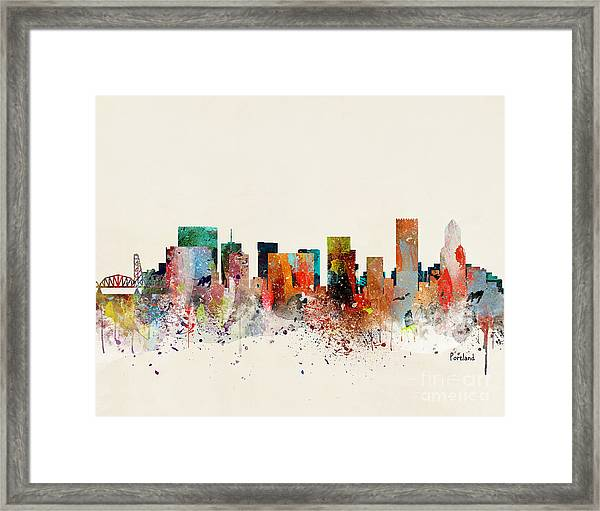 Portland Skyline Framed Print