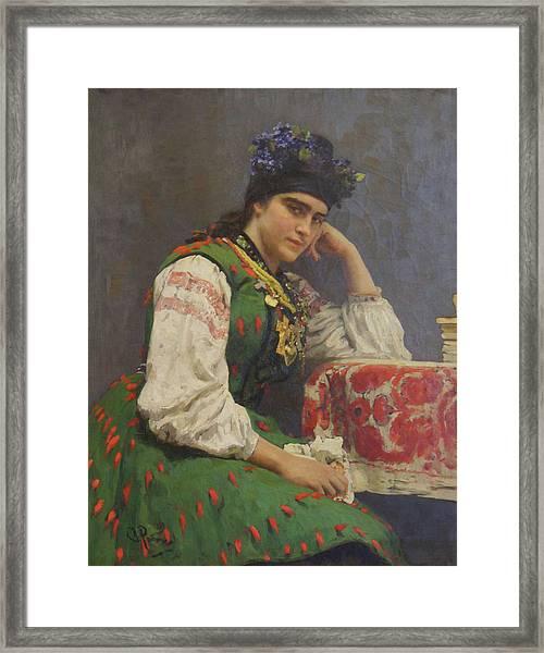 Portrait Of Sophia Dragomirova Framed Print by Ilya Repin
