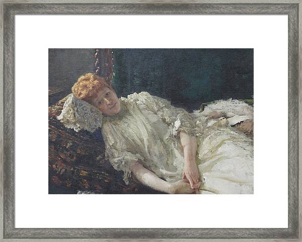 Portrait Of The Pianist Louisa Mercy D'argenteau Framed Print by Ilya Repin