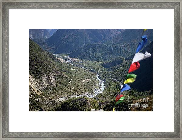 Framed Print featuring the photograph Prayer Flags In The Himalaya Mountains, Annapurna Region, Nepal by Raimond Klavins