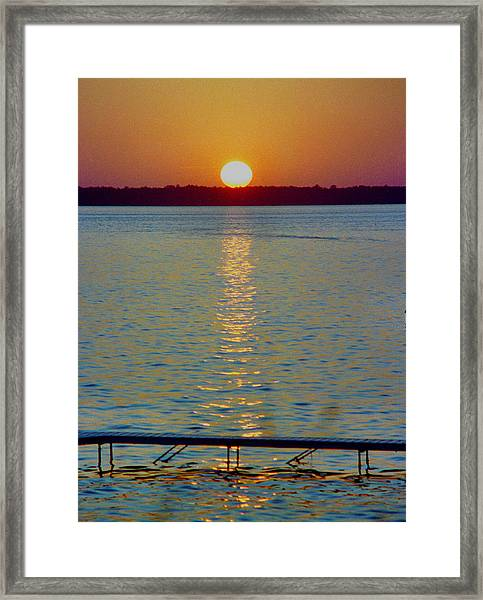 Quite Pier Sunset Framed Print