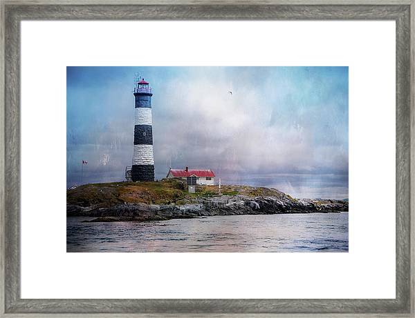 Lighthouse At Race Rocks Framed Print