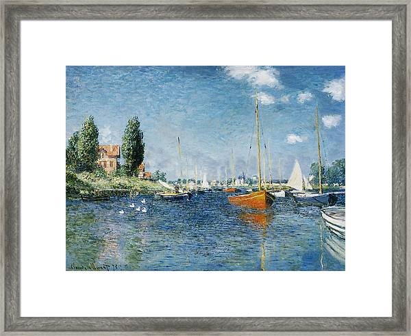 Red Boats, Argenteuil Framed Print