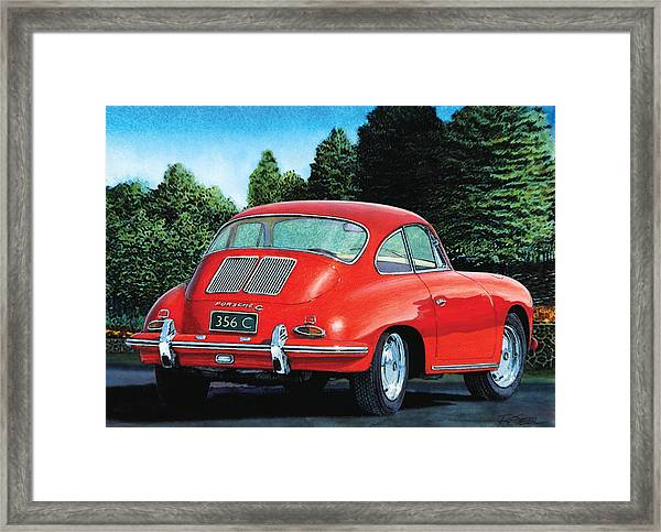 Red Porsche 356c Framed Print