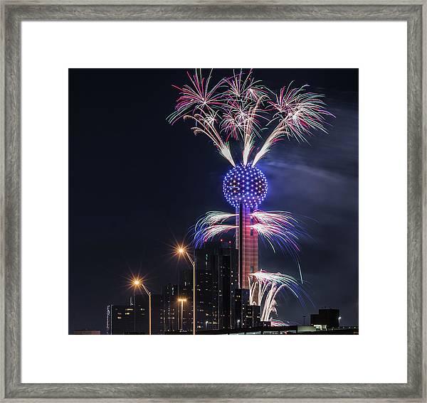 Reunion Tower Fireworks Framed Print