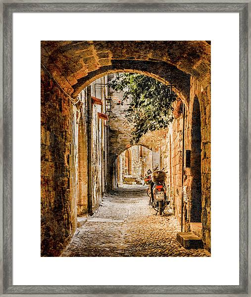 Framed Print featuring the photograph Rhodes, Greece - Rhodian Street by Mark Forte