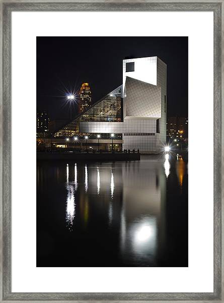 Rock And Roll Hall Of Fame At Night Framed Print