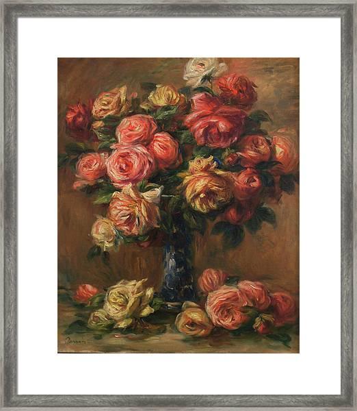Roses In A Vase Framed Print by Pierre Auguste Renoir