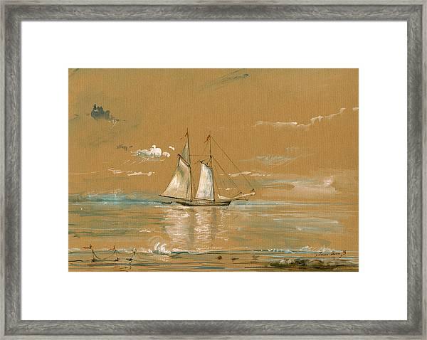Sail Ship Watercolor Framed Print