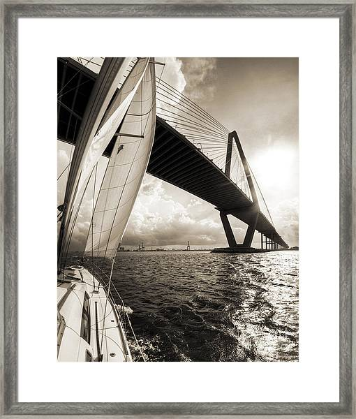 Sailing On The Charleston Harbor Beneteau Sailboat Framed Print
