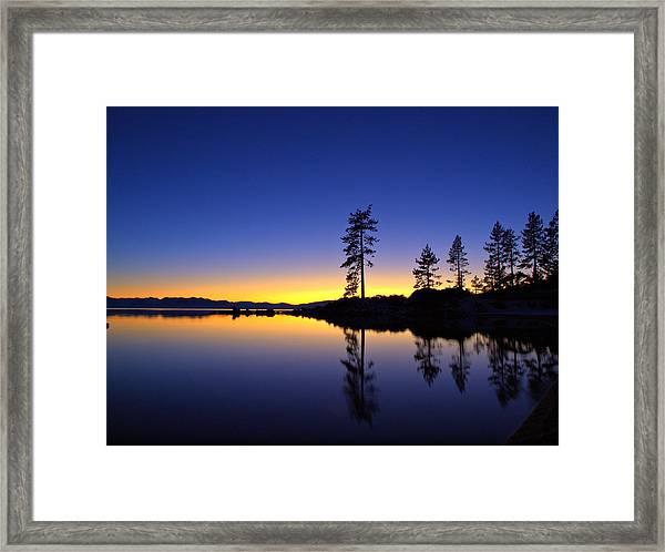 Sand Harbor Sunset Framed Print
