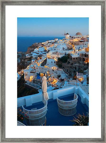 Santorini Skyline Framed Print by Songquan Deng