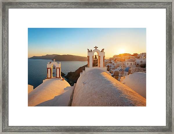 Santorini Skyline Sunset Bell Framed Print by Songquan Deng