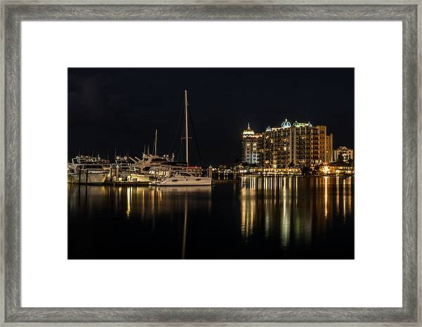 Framed Print featuring the photograph Sarasota Bay After Dark by Claudia Abbott