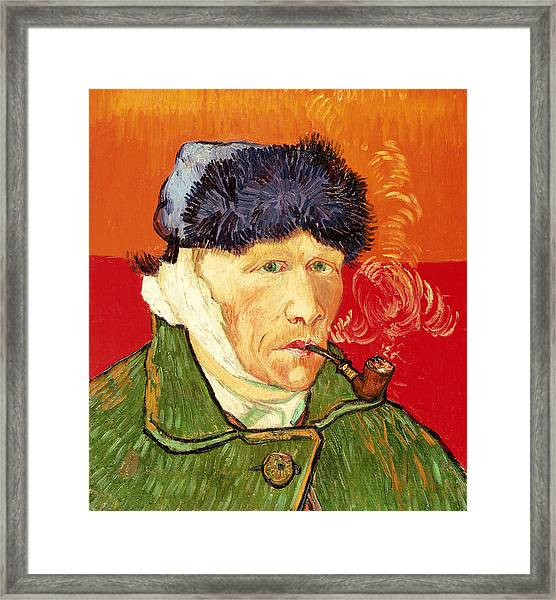 Self Portrait With Bandaged Ear And Pipe Framed Print