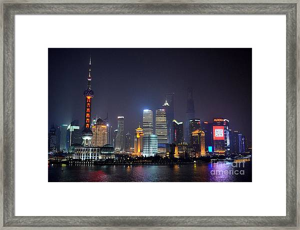 Shanghai China Skyline At Night From Bund Framed Print