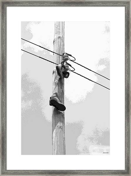 Framed Print featuring the digital art Shoefiti 2160bw by Brian Gryphon