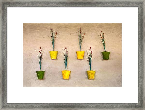 Six Flower Pots On The Wall Framed Print