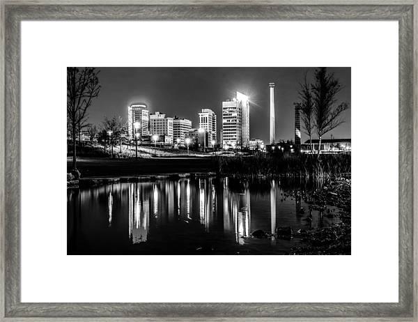 Skyline Of Birmingham Alabama From Railroad Park Framed Print