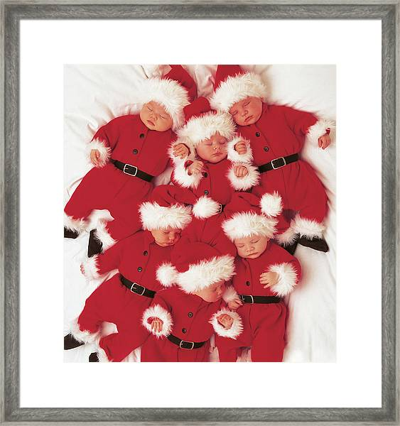 Sleepy Santas Framed Print by Anne Geddes