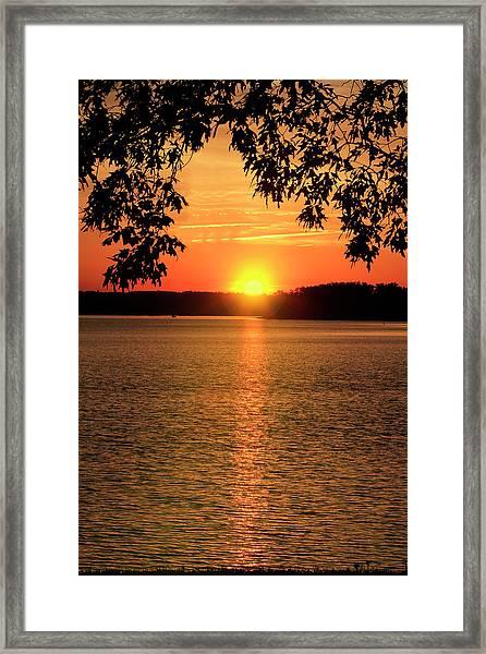 Smith Mountain Lake Silhouette Sunset Framed Print