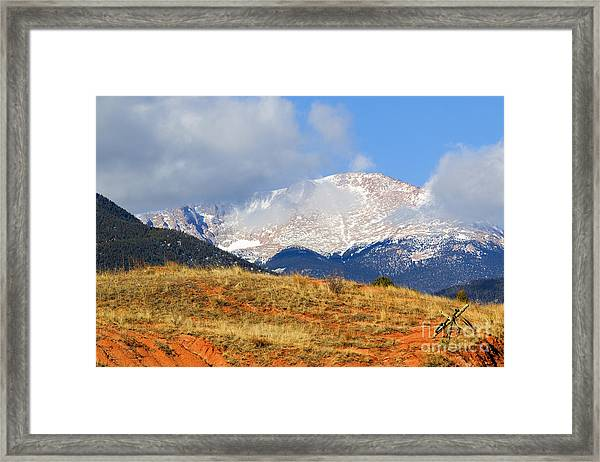 Snow Capped Pikes Peak Colorado Framed Print