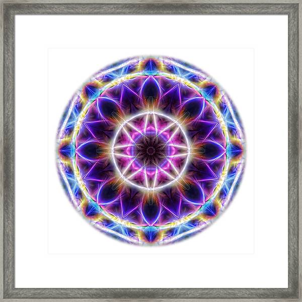 Framed Print featuring the digital art Spring Energy Mandala 2 by Beth Sawickie