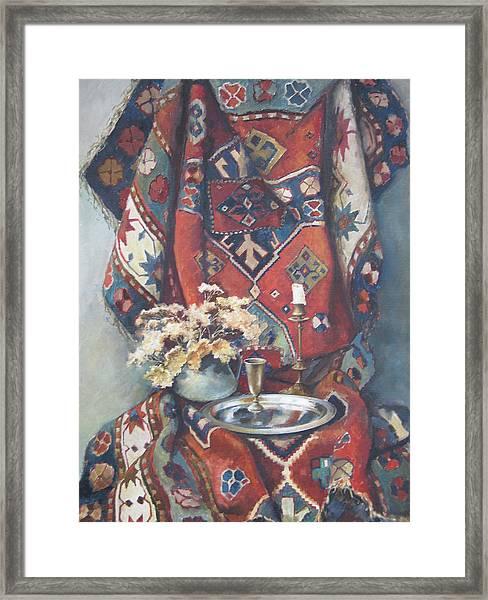 Still-life With An Old Rug Framed Print