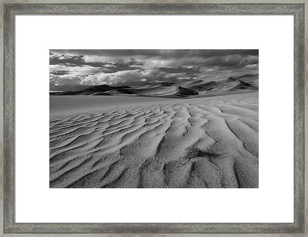 Storm Over Sand Dunes Framed Print