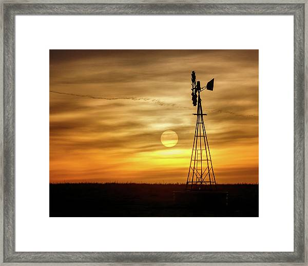 Framed Print featuring the photograph Sunset And Windmill by Rob Graham